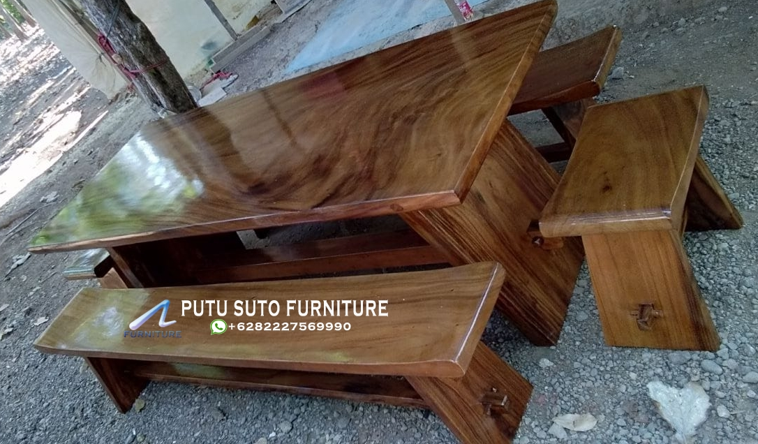 Jual Meja Makan Top Table Kayu Trembesi